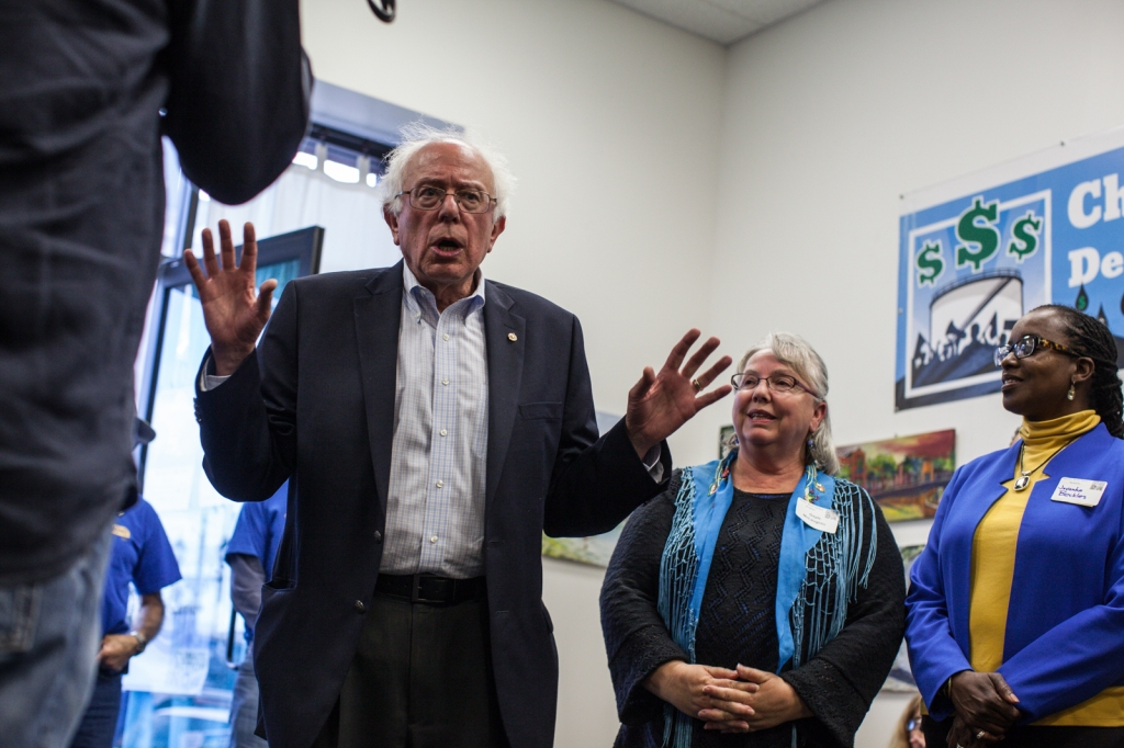 Sen. Bernie Sanders meets with Mayor Gayle McLaughlin and Vice Mayor Jovanka Beckles. (Photo by Martin Totland)