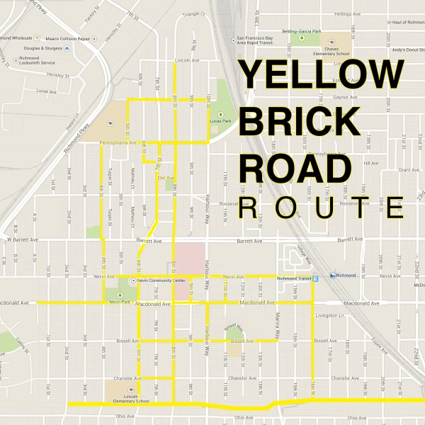 Yellow Brick Road route includes roads from Lincoln Ave to the Richmond Greenway Trail